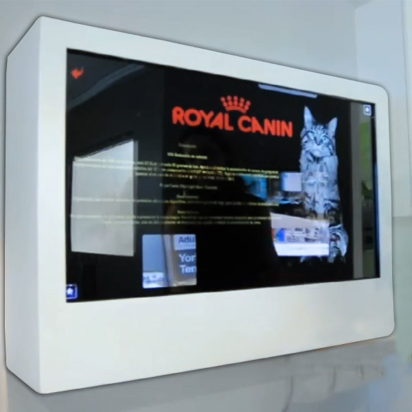 Caja con panel transparente digital